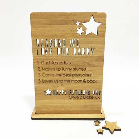 Father's Day Personalised Plaque & Stand - Lil Sunshine Collections
