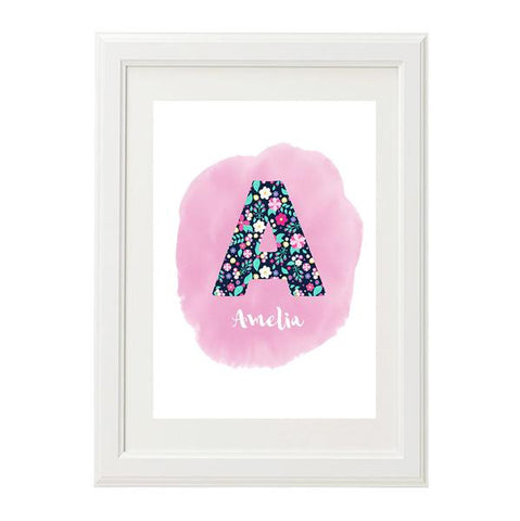 Floral Initial Personalised Print - Lil Sunshine Collections