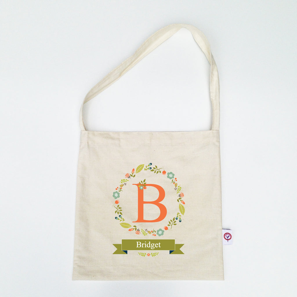 Floral Wreath Personalised Library Bag - Lil Sunshine Collections