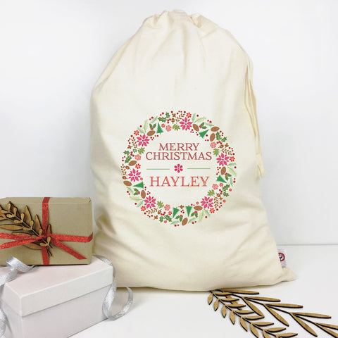 Floral Wreath Personalised Santa Sack - Lil Sunshine Collections