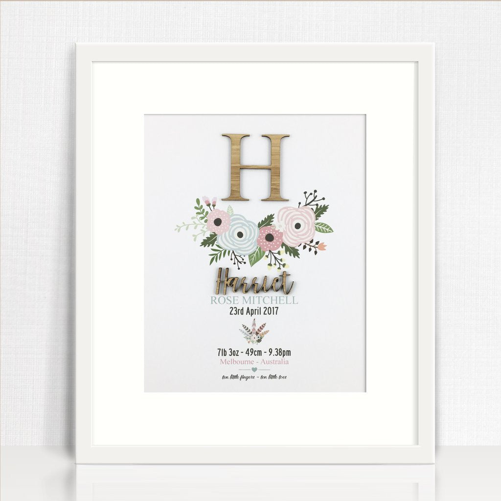 Bamboo Flowers Personalised Birth Print - Lil Sunshine Collections