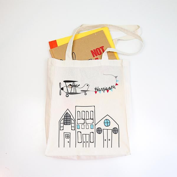 Flying High Personalised Library Tote Bag - Lil Sunshine Collections