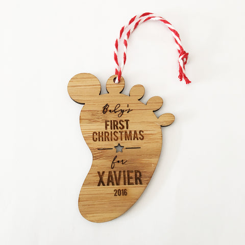 Footprint First Christmas Bamboo Ornament - Lil Sunshine Collections