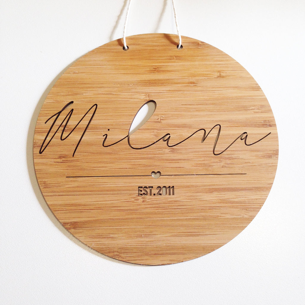 Round Personalised Name Plaque - Girls - Lil Sunshine Collections