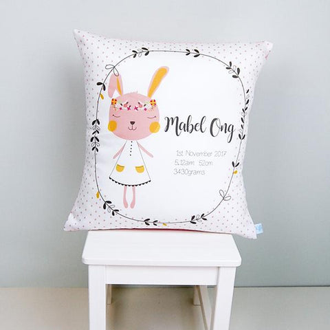 Blush Pink Bunny Personalised Bedroom or Nursery Birth Cushion - Lil Sunshine Collections