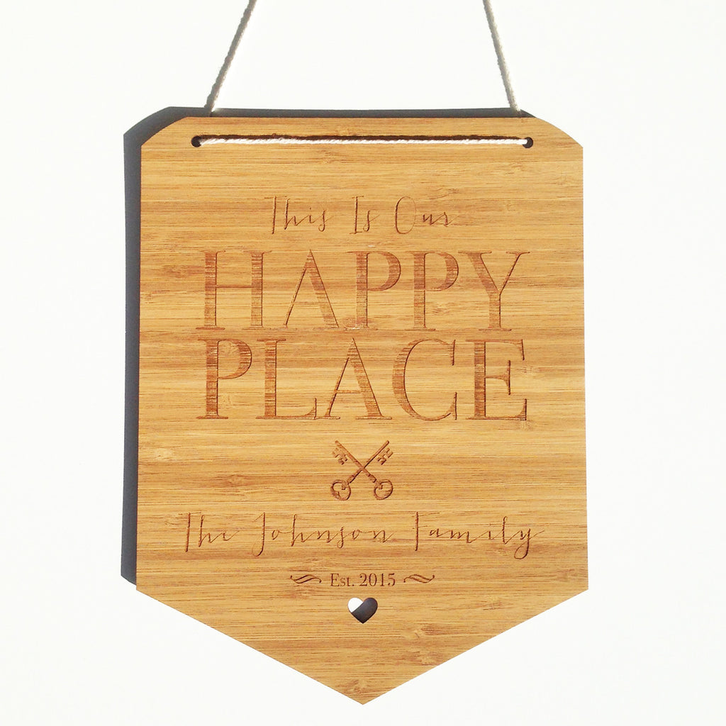 Happy Place Personalised Bamboo Wall Hanging - Lil Sunshine Collections
