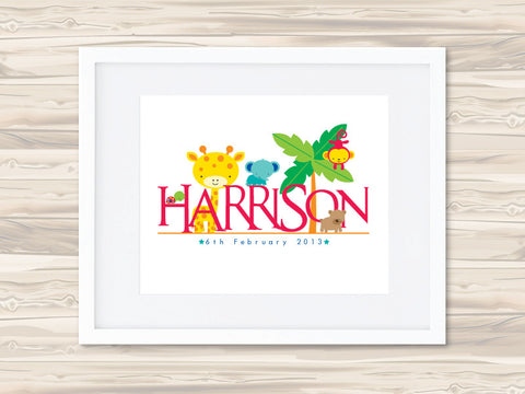Boys' Personalised Name Birth Date Print - Harrison - Lil Sunshine Collections