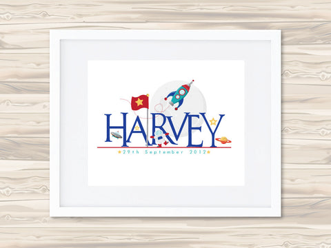 Boys' Personalised Name Birth Date Print - Harvey - Lil Sunshine Collections