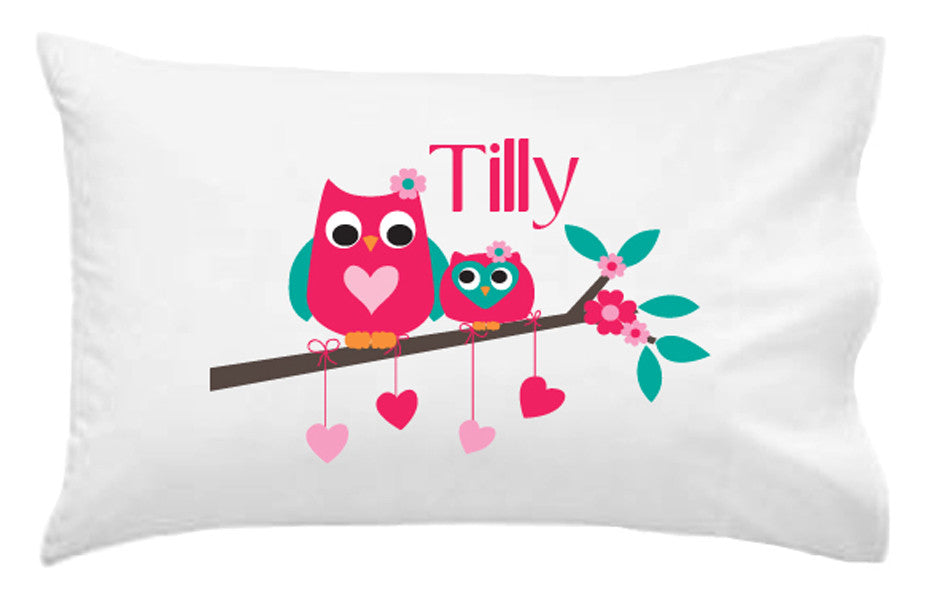 Owls and Hearts Personalised Pillowcase - Lil Sunshine Collections