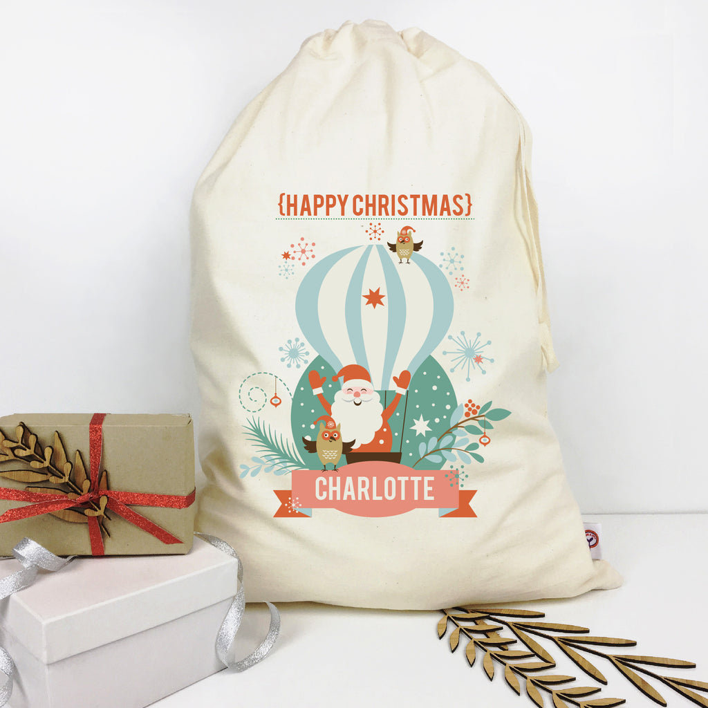 Hot Air Balloon Personalised Santa Sack - Lil Sunshine Collections