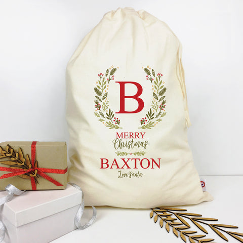 Initial Wreath Personalised Santa Sack - Lil Sunshine Collections