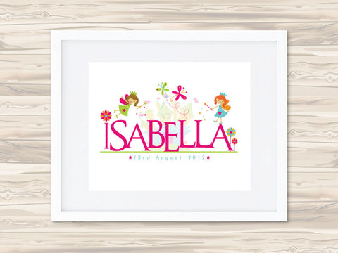 Girls' Personalised Name Birth Date Print - Isabella - Lil Sunshine Collections