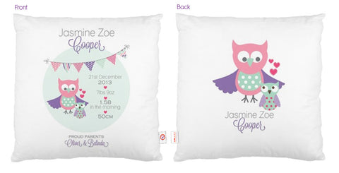 Owls Bunting Cushion - Lil Sunshine Collections