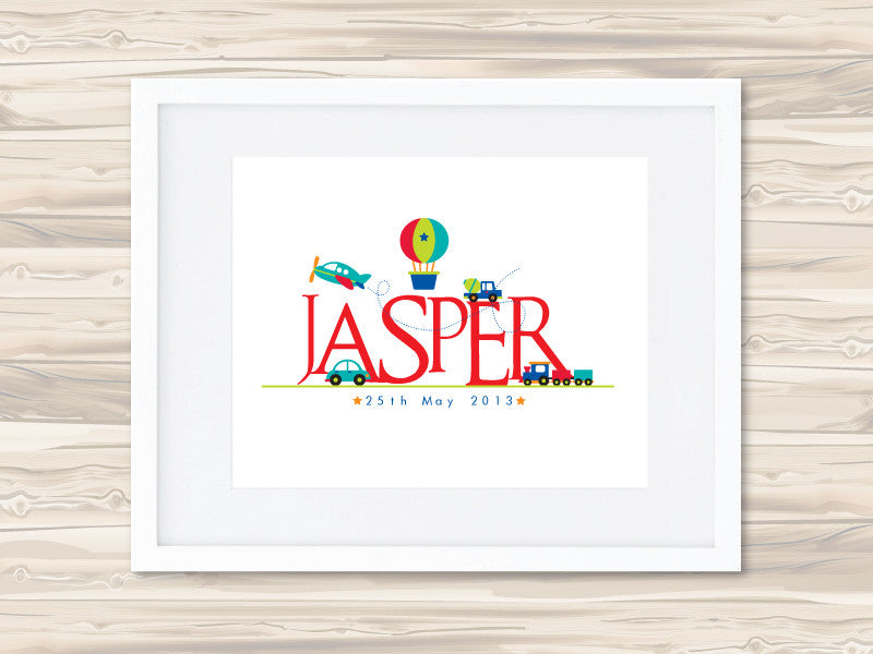 Boys' Personalised Name Birth Date Print - Jasper - Lil Sunshine Collections