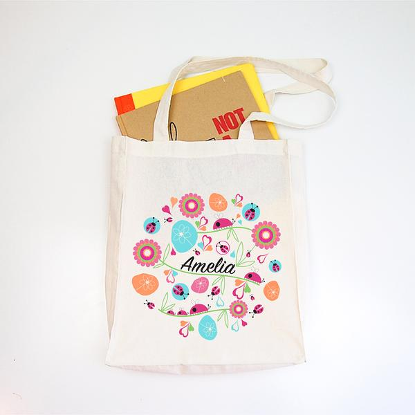 Ladybird Garden Personalised Library Tote Bag - Lil Sunshine Collections
