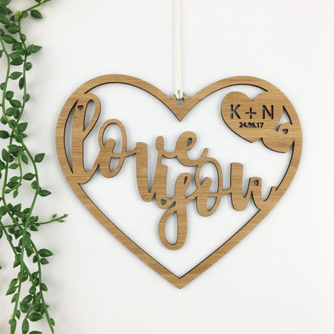 Love You Script Heart Personalised Wall Hanging