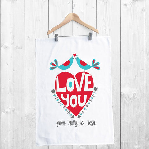 Love You Personalised Tea Towel - Lil Sunshine Collections