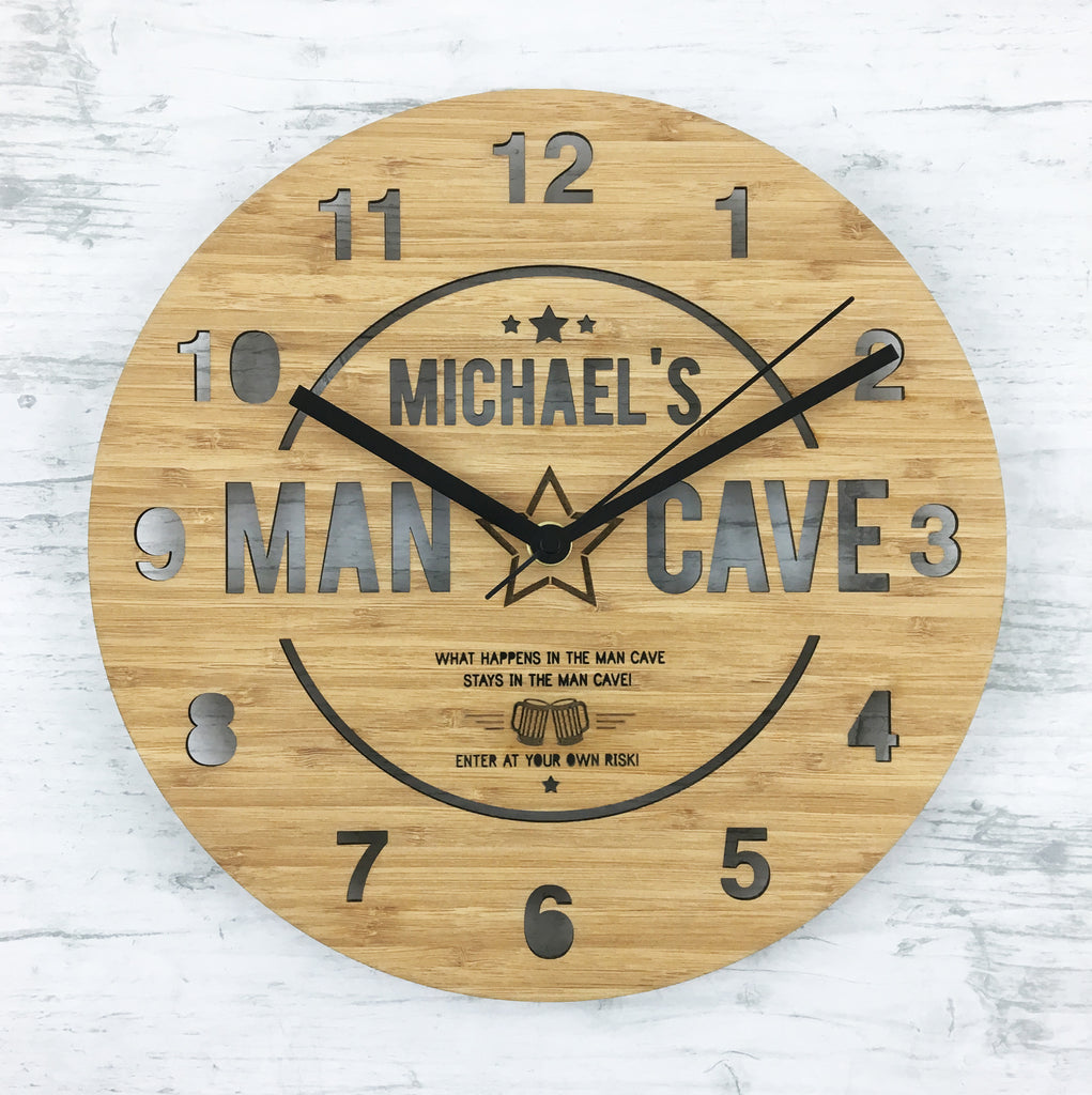 Man Cave Personalised Bamboo Clock - Lil Sunshine Collections
