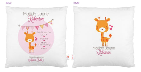 Giraffe Personalised Bunting Cushion - Lil Sunshine Collections