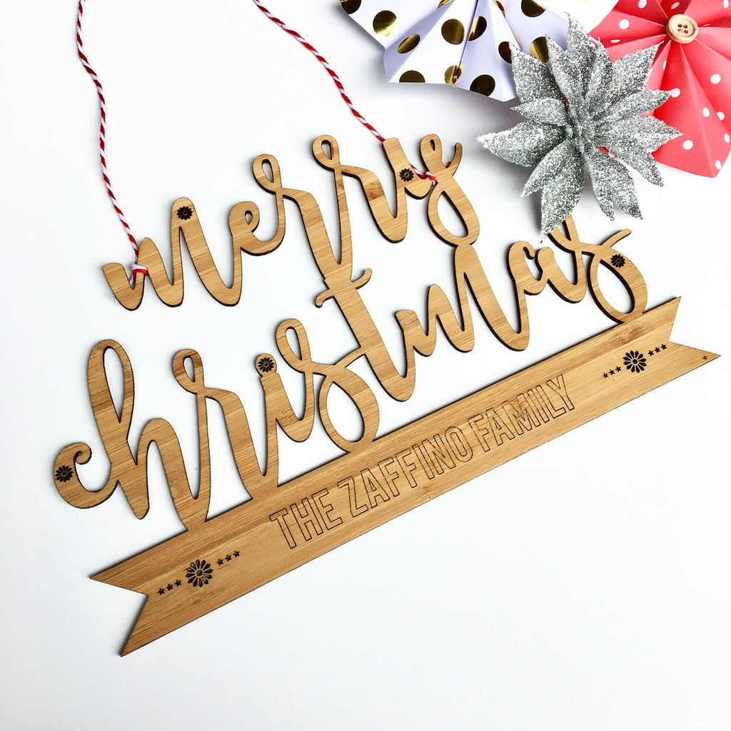 Merry Christmas Personalised Wall Hanging - Lil Sunshine Collections