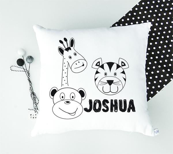 Monochrome Zoo Animal Kid's Personalised Cushion - Lil Sunshine Collections