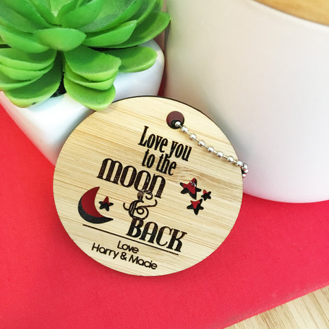 Personalised Moon & Back Keyring - Lil Sunshine Collections