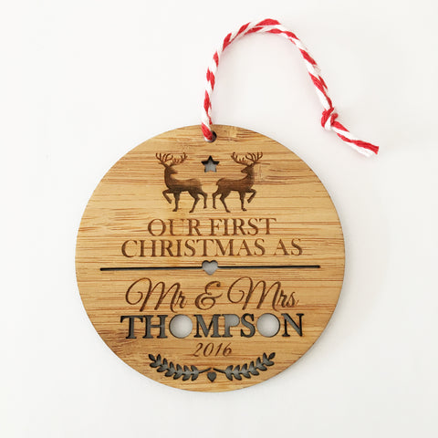 Mr & Mrs First Christmas Ornament - Lil Sunshine Collections