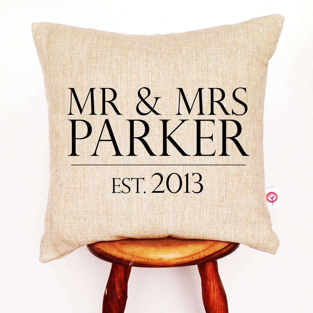 Mr & Mrs Surname Personalised Cushion Cover - Lil Sunshine Collections