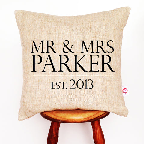 Mr & Mrs Surname Personalised Cushion Cover