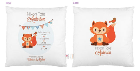 Fox Personalised Bunting Cushion - Lil Sunshine Collections