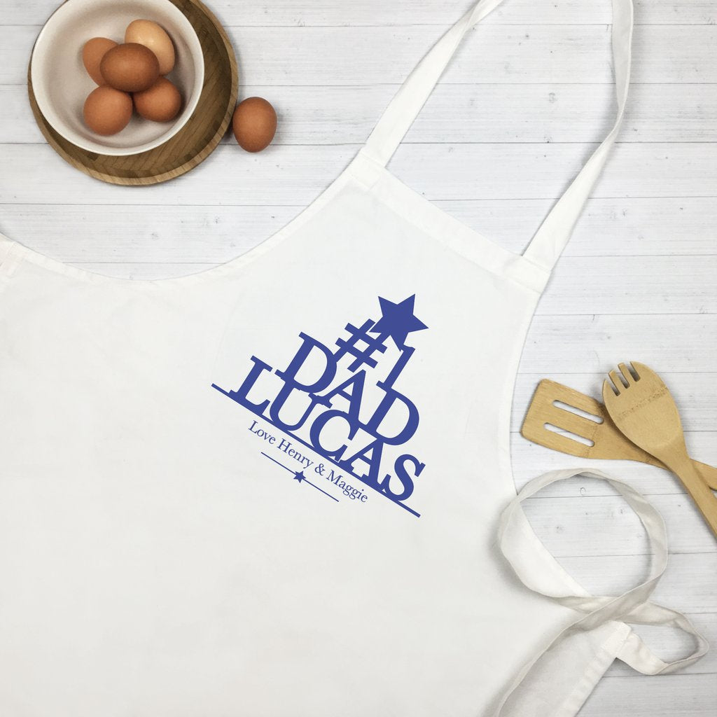 Number One Dad Personalised Apron - Blue - Lil Sunshine Collections