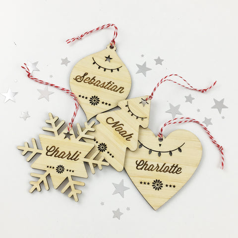 Christmas Shape Bamboo Personalised Name Ornaments