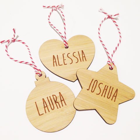 Christmas Bamboo Personalised Name Ornament