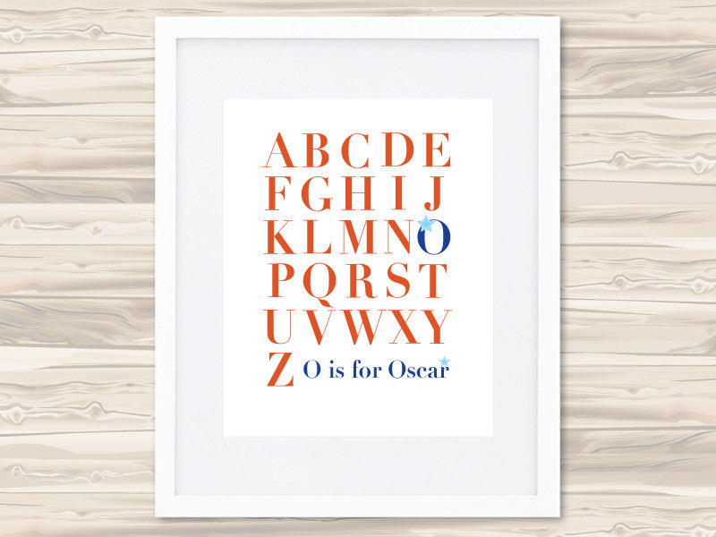 Boys' A-Z Personalised Print - Oscar - Lil Sunshine Collections