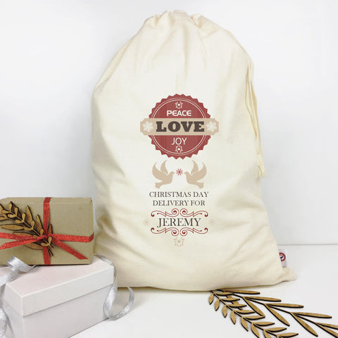 Peace Love Joy Personalised Santa Sack - Lil Sunshine Collections