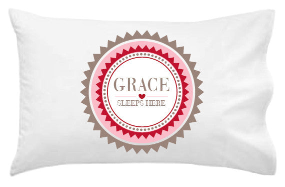 Girls' Plaque Personalised Pillowcase - Lil Sunshine Collections
