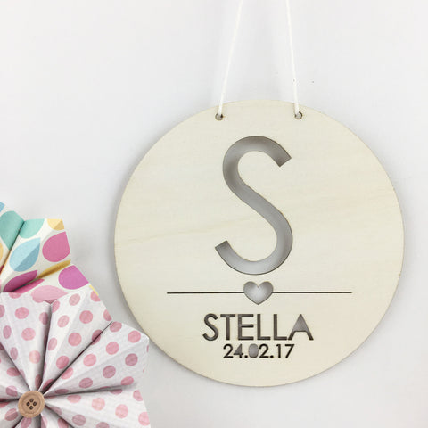 Girls' Round Initial Personalised Plywood Wall Hanging - Lil Sunshine Collections