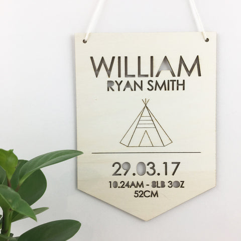 Teepee Personalised Birth Chart Wall Hanging - Lil Sunshine Collections
