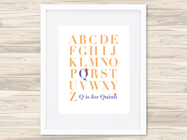 Boys' A-Z Personalised Print - Quinn - Lil Sunshine Collections