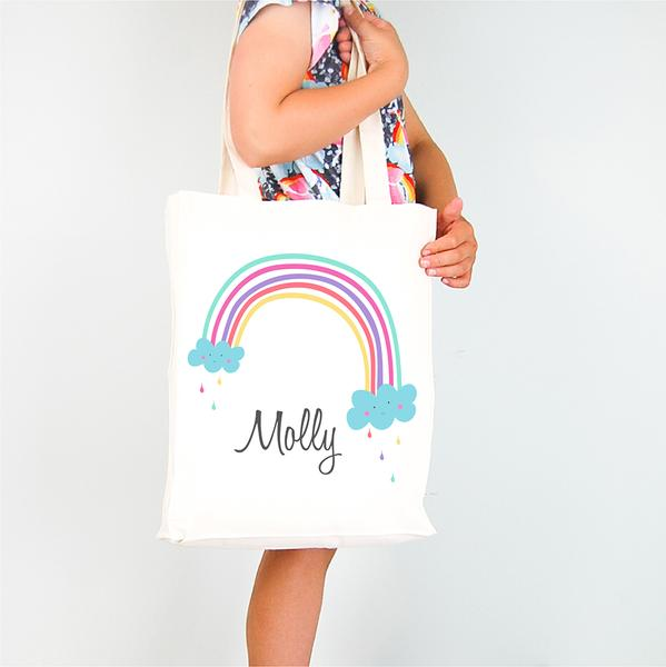 Rainbow Personalised Library Tote Bag - Lil Sunshine Collections