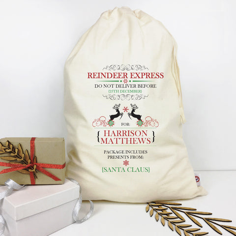 Reindeer Express Personalised Santa Sack - Lil Sunshine Collections