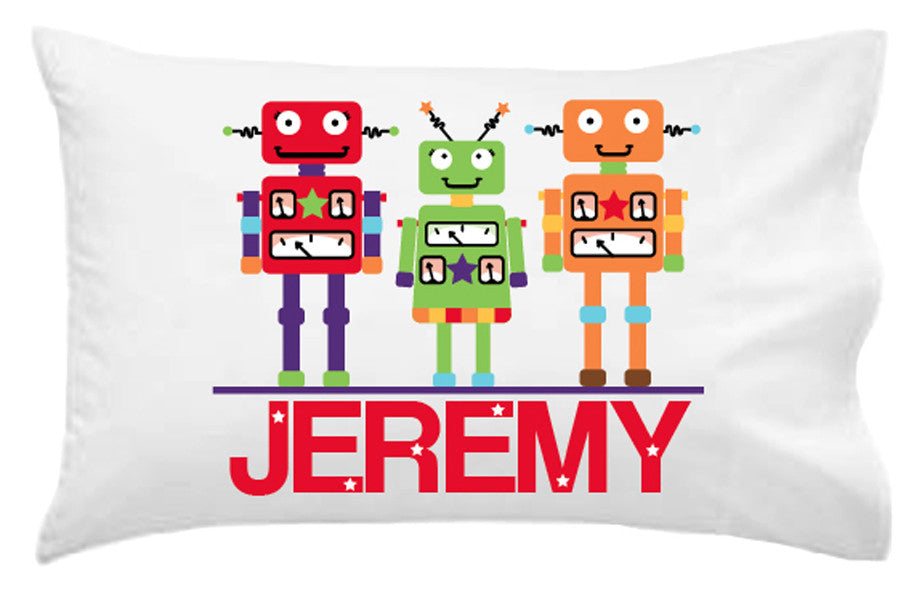 Robots Personalised Pillowcase - Lil Sunshine Collections