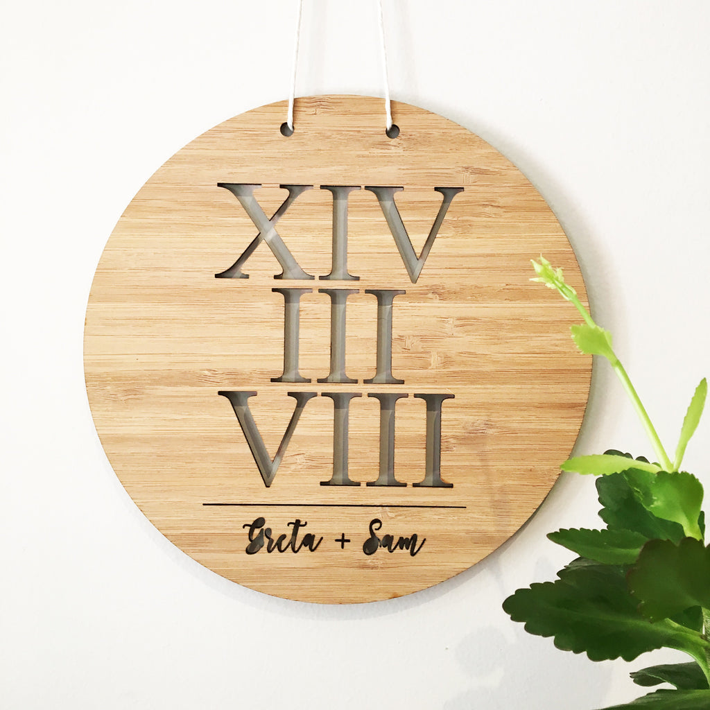 Roman Numerals Personalised Wall Hanging - Lil Sunshine Collections