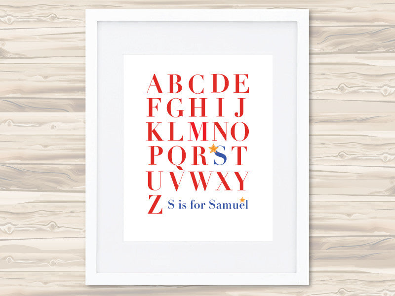 Boys' A-Z Personalised Print - Samuel - Lil Sunshine Collections