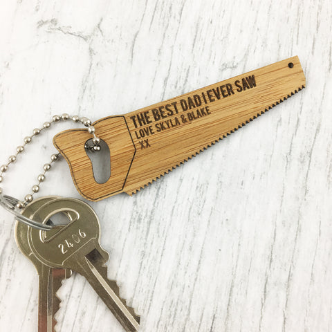 Saw Personalised Bamboo Keyring - Lil Sunshine Collections