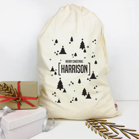 Scandi Trees Personalised Santa Sack - Lil Sunshine Collections