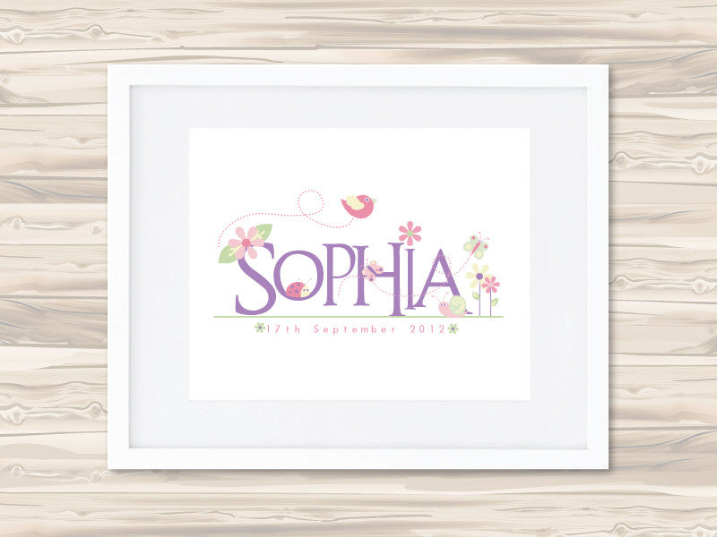 Girls' Personalised Name Birth Date Print - Sophia - Lil Sunshine Collections