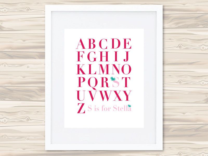 Girls' A-Z Personalised Print - Stella - Lil Sunshine Collections