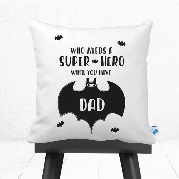 Super Dad Bat Man Inspired Father's Day Personalised Cushion - Lil Sunshine Collections