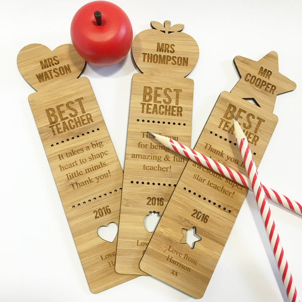 Best Teacher Personalised Bamboo Bookmark - 3 Designs - Lil Sunshine Collections